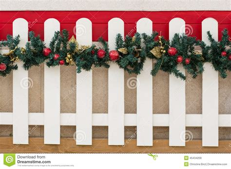 picket fence  christmas decorations stock image image