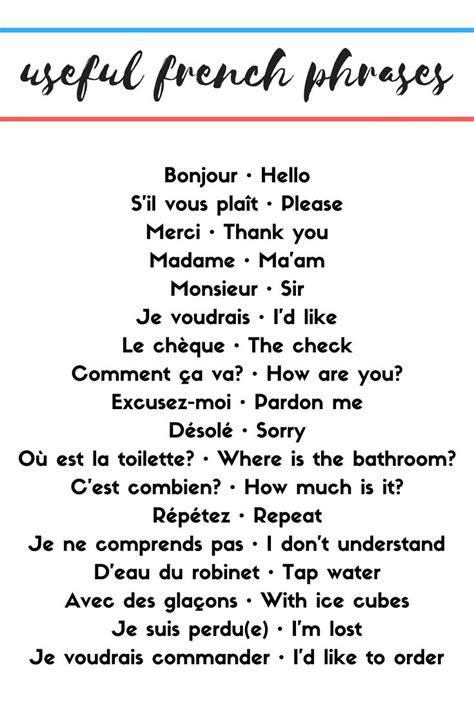 Useful French Phrases   Useful french phrases, Basic ...