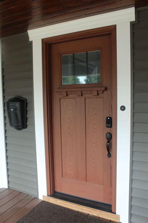 Exterior Kitchen Door With Window by Front Door Craftsman Style With White Trim Windswept