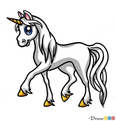 draw white unicorn cute anime animals