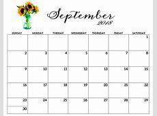 Free Monthly September 2018 Blank Calendar Download