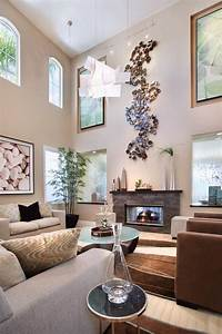 High ceiling wall decor living room contemporary with tan
