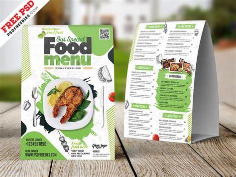 restaurant tent card food menu design psd  images
