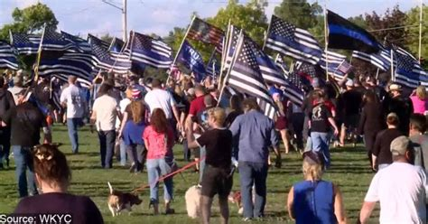 Over 1,000 People Show Up With Blue Line Flags After ...