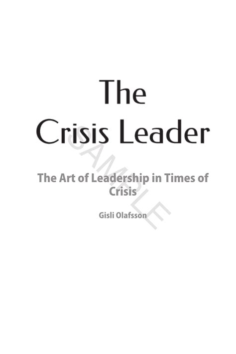 crisis leader  art  leadership  times