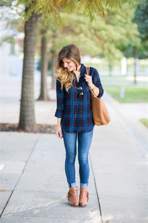 basic fall outfit plaid shirt  jeans