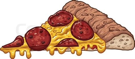 A Slice Of Pepperoni Pizza. Vector ...