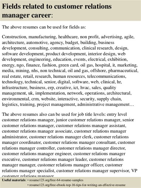 top 8 customer relations manager resume sles