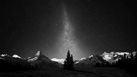 Monochrome Milky Way Galaxy Night Wallpapers