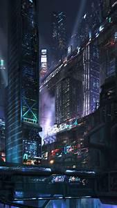 Futuristic City Night iPhone Wallpaper