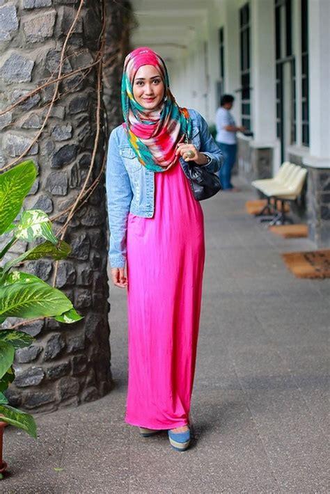 paduan model hijab  denim tutorial hijab