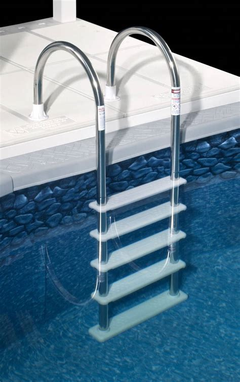 Above Ground Pool Ladder Deck Attachment by Stainless Steel In Pool Ladder Ne122ss Wide White