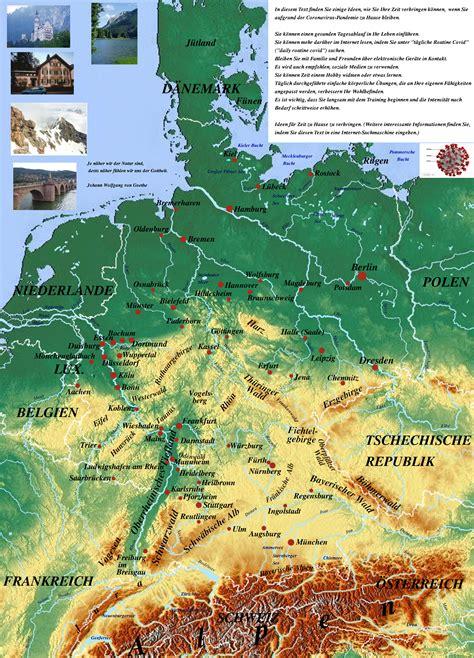 Topografische Karte von Deutschland | physicalmap.org
