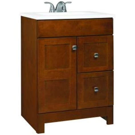 kitchen sink vanity glacier bay artisan 24 in w vanity in chestnut with 2960