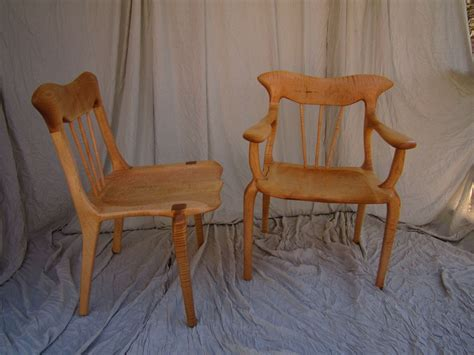 made curly maple lyre dining chair set by bearkat
