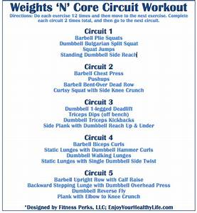 Weights 'N' Core Circuit Workout via @FitnessPerks | It's ...