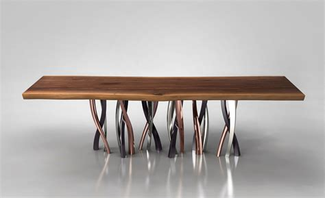 dining room table setting ideas live edge dining table with curvaceous intertwined brass legs