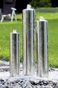 Fontaine D Exterieur En Pierre : fontaine jardin inox design tubes seliger sp cialiste ~ Premium-room.com Idées de Décoration