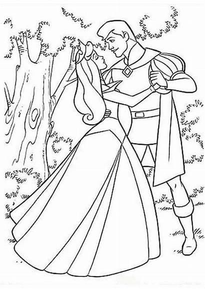 Coloring Prince Princess Pages Aurora Sleeping Beauty