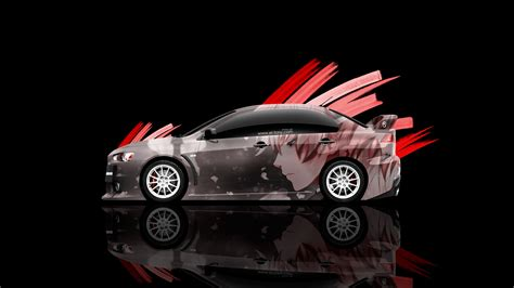mitsubishi lancer evolution  jdm tuning side anime boy