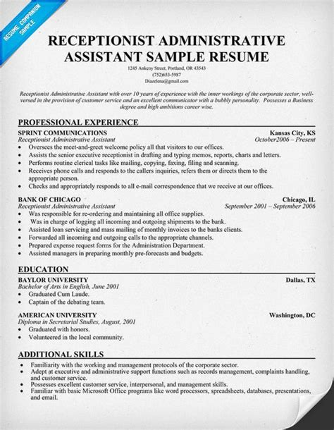 Great Resumes For Administrative Assistants by Sle Resume Receptionist Administrative Assistant Sle Resume Receptionist Administrative