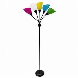 Shop style selections 67 in black 3 way multi head floor for Floor lamp with different color shades