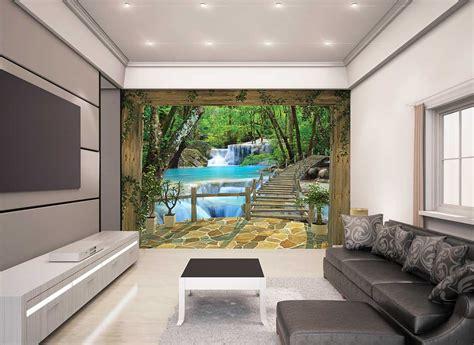 Fototapete Wasserfall Bäume Brücke Natur Wandtapete