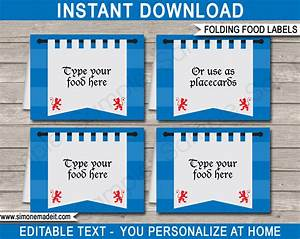 Printable knight party food labels place cards for Food label template for party