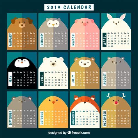 bonito calendario animales descargar vectores gratis