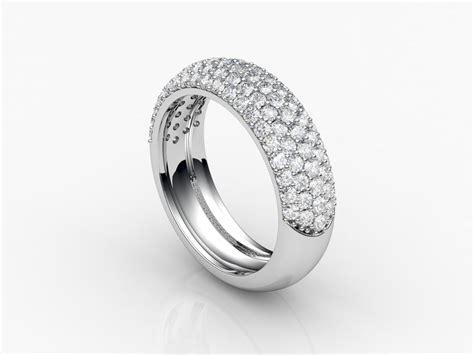 ring band with pav diamonds 3d 3d printable stl 3dm cgtrader com