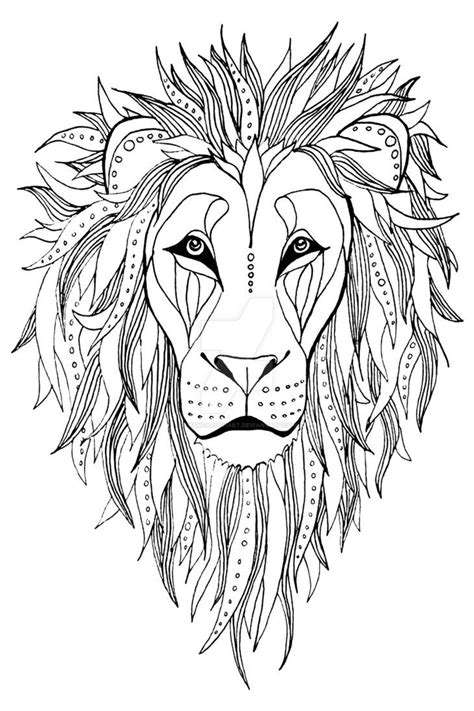 patterned Lion ink drawing by AmandaRuthArt on DeviantArt | Lion drawing, Lion coloring pages