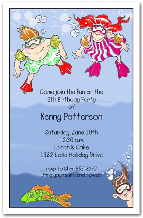 underwater swim kids party invitations swim party invitations