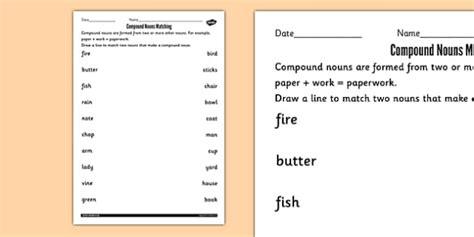 compound nouns matching worksheets compound noun match