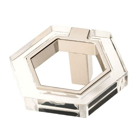 hexagon drawer pulls liberty 1 7 8 in polished nickel and clear acrylic 1613