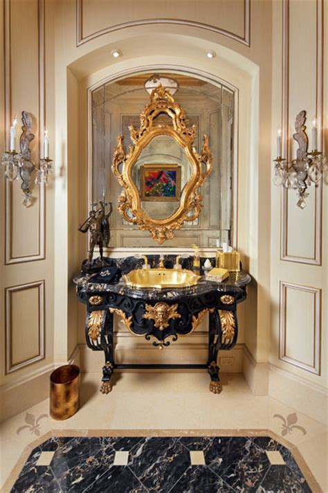 French Antique Vanity Powder Room 24K Gold / Onyx Drop In