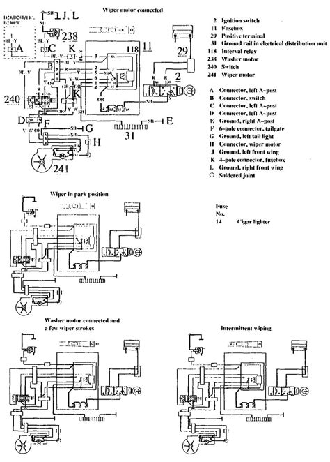 Volvo 740 (1990 - 1991) - wiring diagrams - wiper/washer