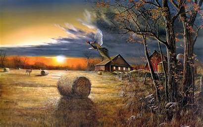 Country Paintings Fall Autumn Rustic Landscapes Prints