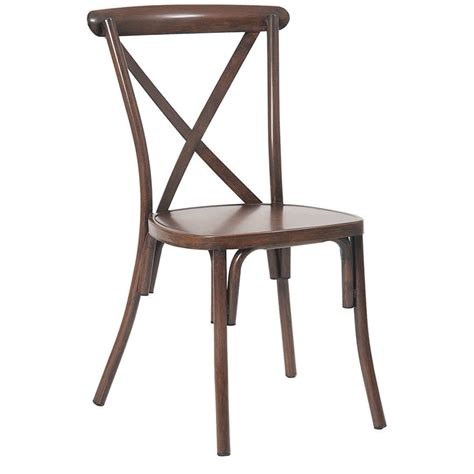 stackable metal x back chair in walnut finish