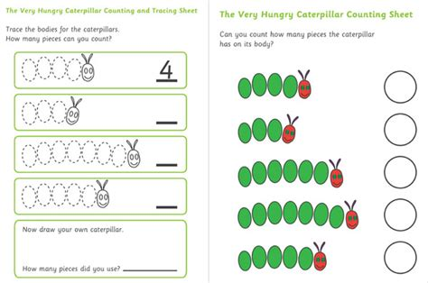 free printable resources for early years the hungry caterpillar counting and tracing sheet