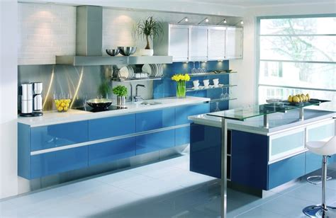 blue kitchen cabinets blue lacquered kitchen with floating cabinets modern 1730