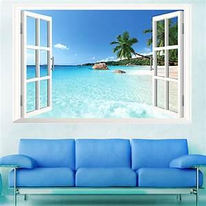 Huge Removable Beach Sea 3D Window Scenery Wall Sticker ...