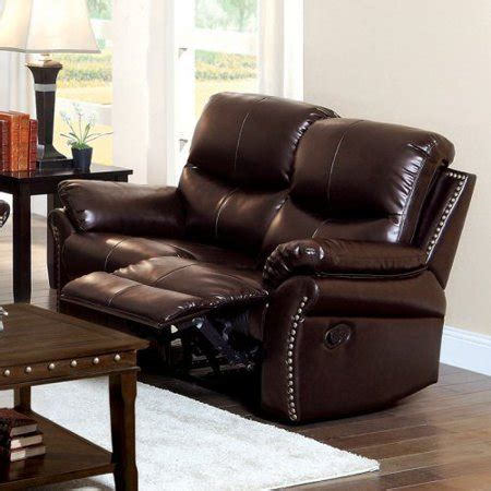 Leather Loveseat With Nailhead Trim by Furniture Of America Norfolk Bonded Leather Loveseat With