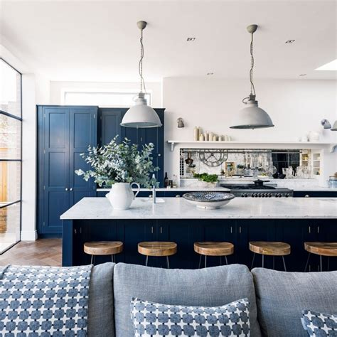 stools for kitchen island navy kitchen ideas ideal home