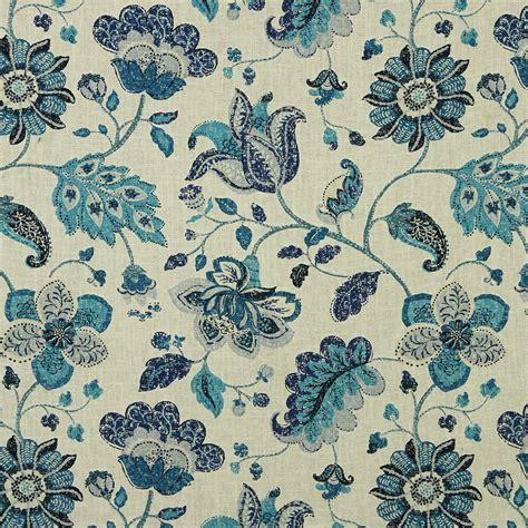 navy blue grey floral linen upholstery fabric modern