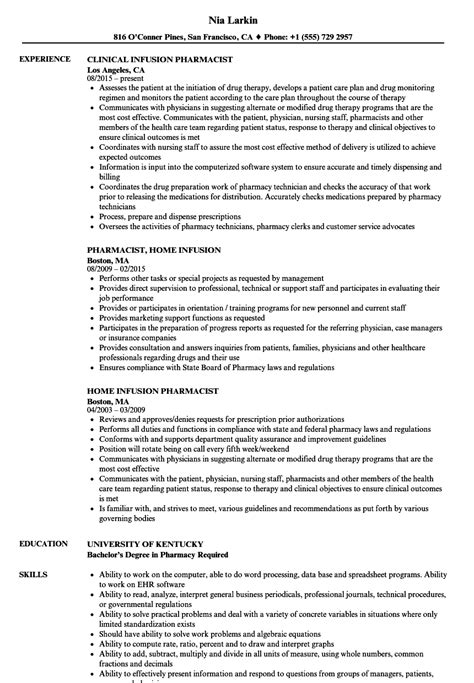 Specialty Pharmacist Resume by Home Infusion Pharmacy Ftempo