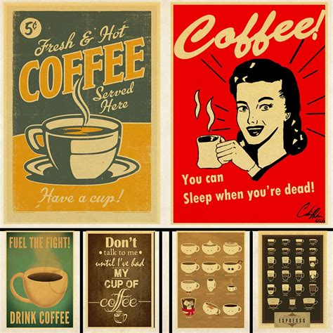 See more ideas about vintage advertisements, vintage ads, vintage posters. Classic Coffee Vintage Poster Bars Cafe Kitchen Coffee Making Manuals Retro Kraft Paper Print ...
