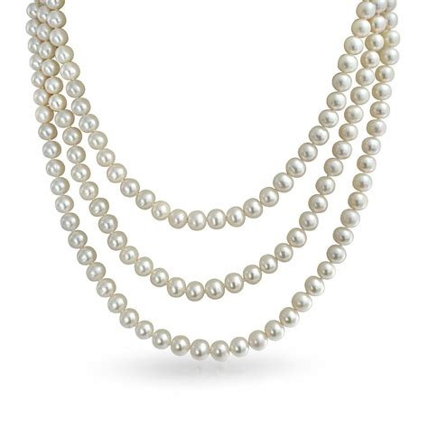 Bridal Triple Strand White Pearl Necklace Gatsby Inspired 20in