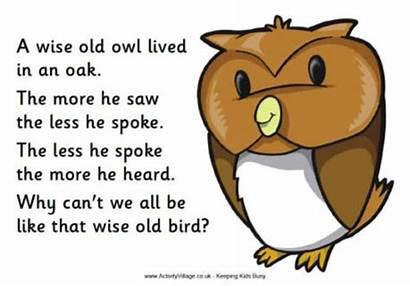 Poem Rhyming Write Owl Wise Nursery Poems