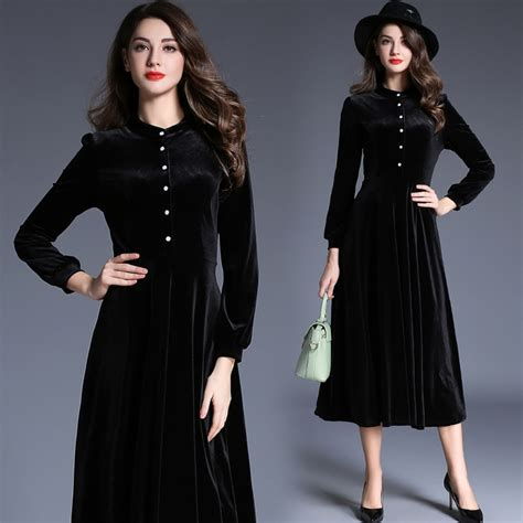 model   winter velvet collar ladies dress