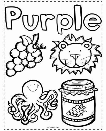 Purple Pages Kindergarten Preschool Coloring Lion Letters